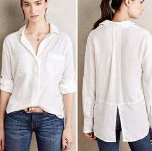 Anthro cloth&stone white split back button down